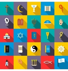 Religion icons set flat style vector image