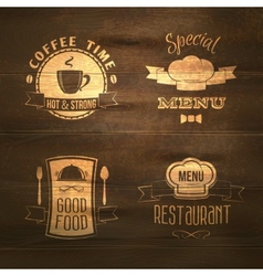 Restaurant menu emblems set wooden vector image