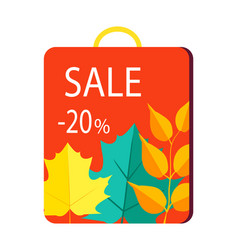 Sale 20 promo poster on shopping bag with handle vector