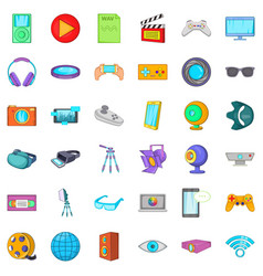 Screen film icons set cartoon style vector