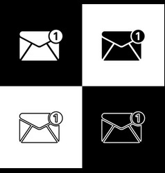 set envelope icons isolated on black and white vector image