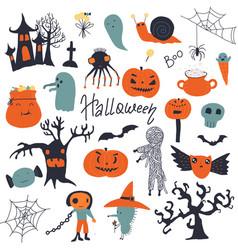 set halloween cute cartoon characters vector image