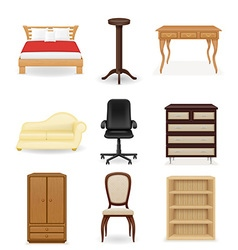 set icons furniture 04 vector image