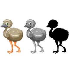 set of emu character vector image