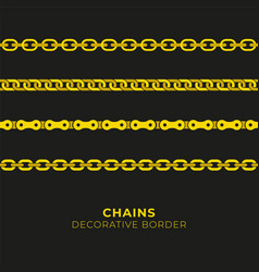 set of golden chains seamless pattern vector image