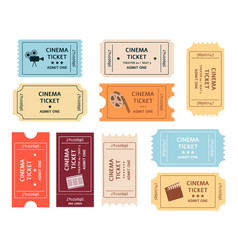 set retro cinema tickets cartoon or flat style vector image