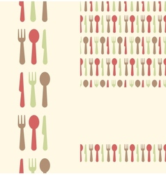 set three utensils seamless patterns and vector image