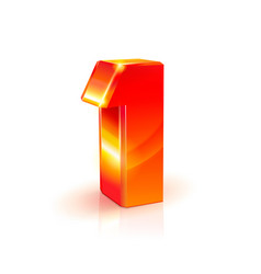 shiny orange red 3d number 1 on white background vector image