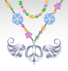 Silver peace necklace vector