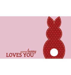 Single valentine rabbit wording vector