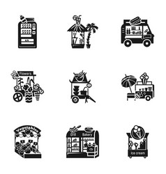 Street food kiosk icon set simple style vector