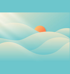 summer cloudy and foggy with sunlight on blue sky vector image