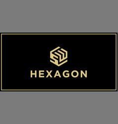 sw hexagon logo design inspiration vector image