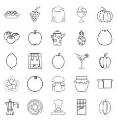 Tea garden icons set outline style vector