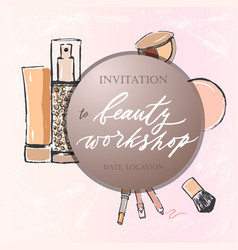 Template of invitation to beaty workshop on pink vector