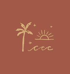 Terracotta art print abstract palm modern vector