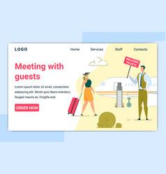 Travel agency employee hotel staff meeting tourist vector