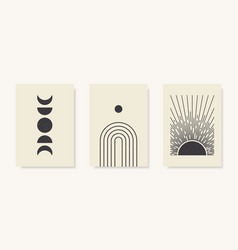 trendy set moon phases arch and abstract sun vector image