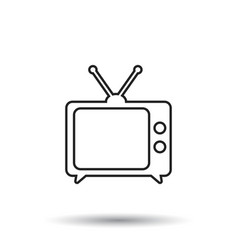 tv icon in line style isolated on white vector image