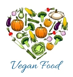 Vegetable love heart for vegetarian food design vector
