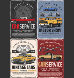 Vintage cars auto vehicle spare parts and pistons vector