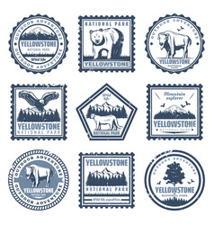 Vintage national park stamps set vector