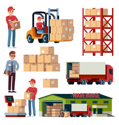 warehouse flat elements logistic transportation vector image