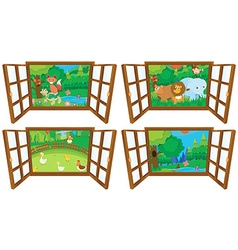 Windows with four views farm and forest vector