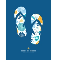 Blue and yellow flower silhouettes flip flops vector image vector image