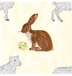 seamless texture easter bunny and easter eggs vector image vector image