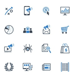 SEO and Internet Marketing Icons Set 3-Blue Series vector image vector image