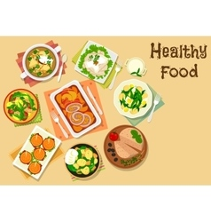 Appetizers and various of potato salads icon vector image vector image