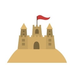 colorful sandcastle icon with flag vector image