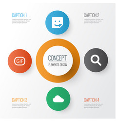 internet icons set collection of overcast chat vector image vector image