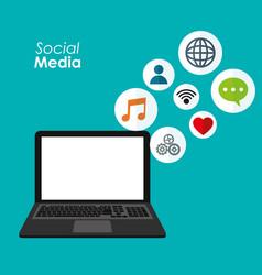 laptop social media applications digital vector image