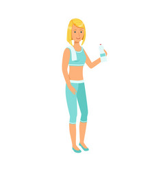 woman drinking water dressed in sportswear vector image vector image