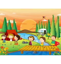 a river a bench and kids vector image vector image