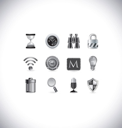 black and white icons vector image