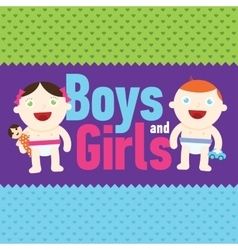 Boy and girl smiling with toys vector image