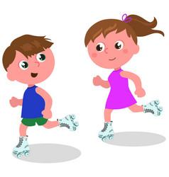 children skating vector image vector image