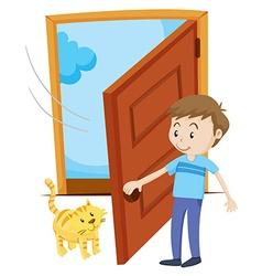 Man open the door for pet cat vector