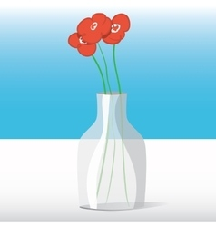 Red flowers in vase vector image