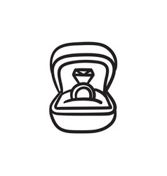 Wedding ring in gift box sketch icon vector