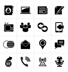 Black Media and communication icons vector image