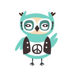 cute cartoon owl bird with peace sign on its cloth vector image