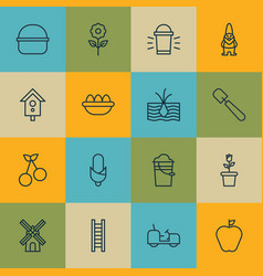 set of 16 farm icons includes taste apple vector image vector image
