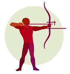 Archer silhouette of bowman archery logo vector
