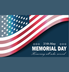 banner memorial day usa flag on blue vector image