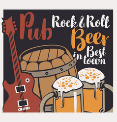 banner with wooden keg beer glasses and guitar vector image vector image