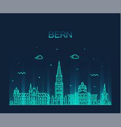 Bern skyline switzerland city linear style vector